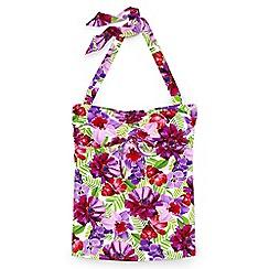 Lands' End - Pink regular beach living floral bandeau halter neck tankini top