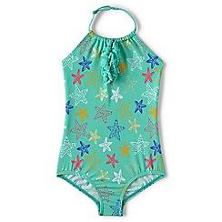 Lands' End - Girls' green beachcomber halter neck swimsuit