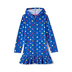 Lands' End - Blue girls long sleeve patterned hooded beach cover up