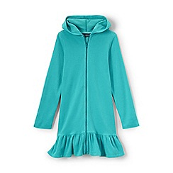 Lands' End - Girls' blue long sleeve hooded beach cover up