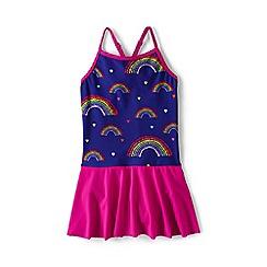 Lands' End - Girls' purple smart swim  skirted swimsuit