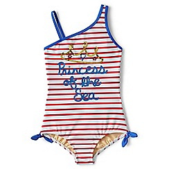 Lands' End - Girls' white one shoulder swimsuit