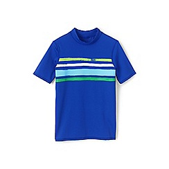 Lands' End - Boys' blue short sleeve graphic rash vest