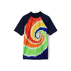 Lands' End - Multicoloured boys short sleeve colourblock graphic rash vest