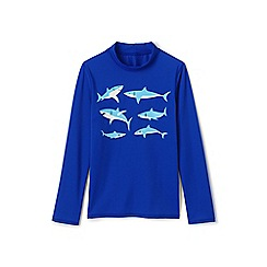 Lands' End - Blue boys' long sleeve graphic rash vest