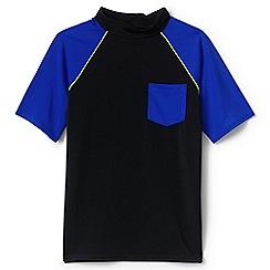 Lands' End - Boys' black short sleeve colourblock rash vest