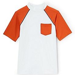 Lands' End - Boys' white short sleeve colourblock rash vest