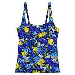 Lands' End - Blue regular beach living square neck floral print tankini top