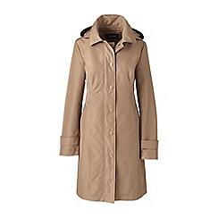 Lands' End - Beige long waterproof hooded rain coat