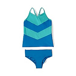 Lands' End - Blue smart swim colourblock tankini