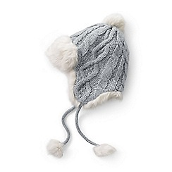 Lands' End - Grey chunky cable peruvian hat