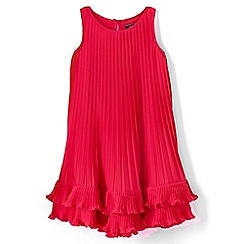 Lands' End - Girls' pink sleeveless pleated trapeze dress