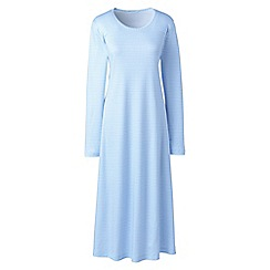 Lands' End - Blue supima patterned long sleeves calf-length nightdress