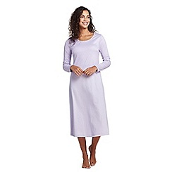 Lands' End - Purple supima patterned long sleeve calf-length nightdress