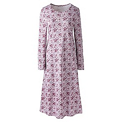 Lands' End - Purple plus supima patterned long sleeve calf-length nightdress