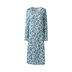 Lands' End - Blue Plus Supima Patterned Long Sleeve Calf-Length Nightdress