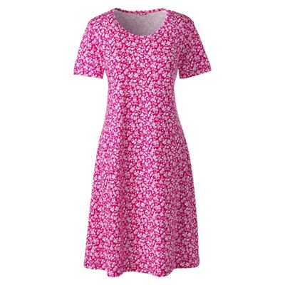 Womens Petite Supima Patterned Long Sleeve Calf-length Nightdress - 8 - RED Lands End