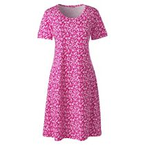 Womens Petite Supima Patterned Long Sleeve Calf-length Nightdress - 8 - RED Lands End Countdown Package Cheap Online Low Price Fee Shipping Cheap Price Sneakernews For Sale Nice Q7XzwmsElO