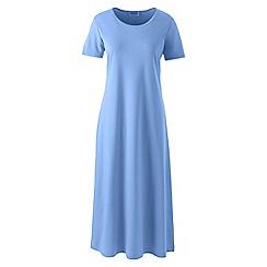 Lands' End - Blue supima short sleeves calf-length nightdress