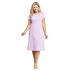 Lands' End - Purple Plus Supima Short Sleeve Calf-Length Nightdress