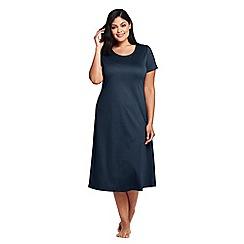 Lands' End - Blue plus supima short sleeves calf-length nightdress