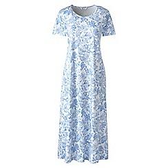 Lands' End - Blue supima patterned short sleeves calf-length nightdress