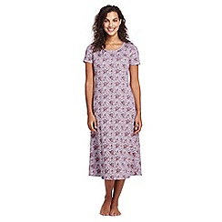 Lands' End - Purple supima patterned short sleeve calf-length nightdress