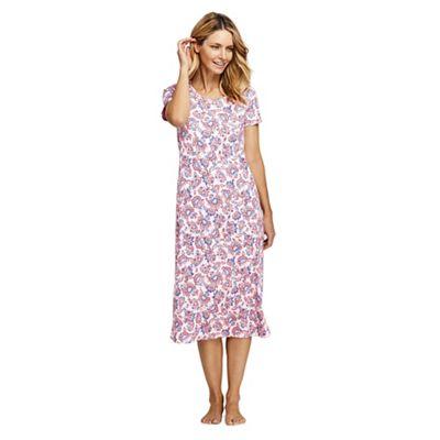 c46611af8 Lands' End Pink Supima Patterned Short Sleeve Calf-Length Nightdress ...