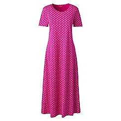 Lands' End - Pink supima patterned short sleeves calf-length nightdress