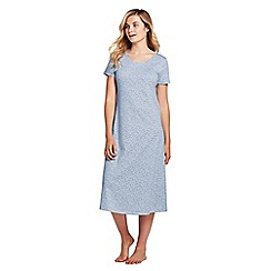 Lands' End - Blue supima patterned short sleeve calf-length nightdress