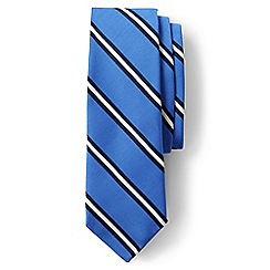 Lands' End - Blue regular prep stripe silk and cotton tie