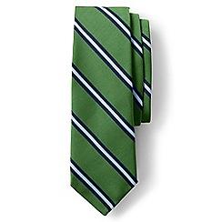 Lands' End - Green regular prep stripe silk and cotton tie