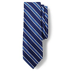 Lands' End - Navy silk texture herringbone stripe tie