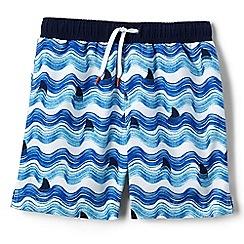 Lands' End - Boys' blue volley printed swim shorts
