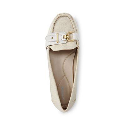 Lands' End - Cream regular buckle boat shoes