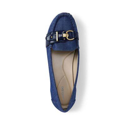 Lands' End - Blue regular buckle boat shoes