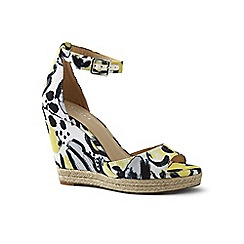 Lands' End - Yellow regular stacked wedge sandals