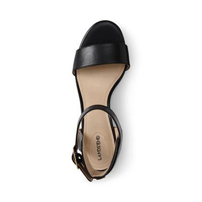 Lands' End - Black regular block heel leather sandals