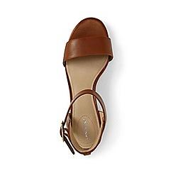 Lands' End - Beige regular block heel leather sandals