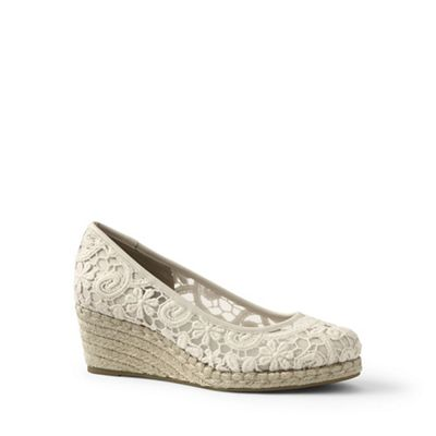 Lands' End - Cream lace espadrille wedge shoes