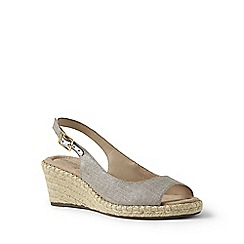 Lands' End - Brown suede espadrille wedge sandals