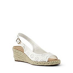 Lands' End - White suede espadrille wedge sandals