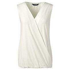 Lands' End - Cream sleeveless jersey wrap top