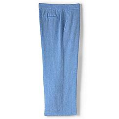 Lands' End - Blue regular linen wide leg crop trousers