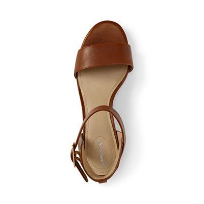 Womens Regular Block Heel Leather Sandals - 4.5 - BROWN Lands End