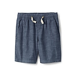 Lands' End - Boys' blue pull-on chambray shorts