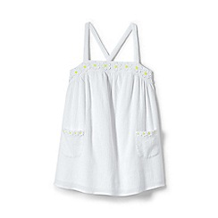 Lands' End - Girls' white daisy applique smock top