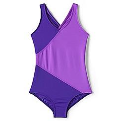 Lands' End - Purple smart swim colourblock swimsuit