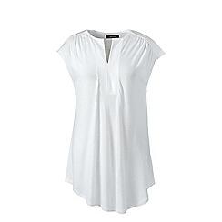Lands' End - White regular cap sleeves shirred split neck tunic