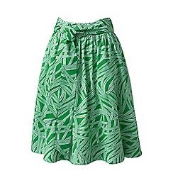 Lands' End - Green print A-line skirt